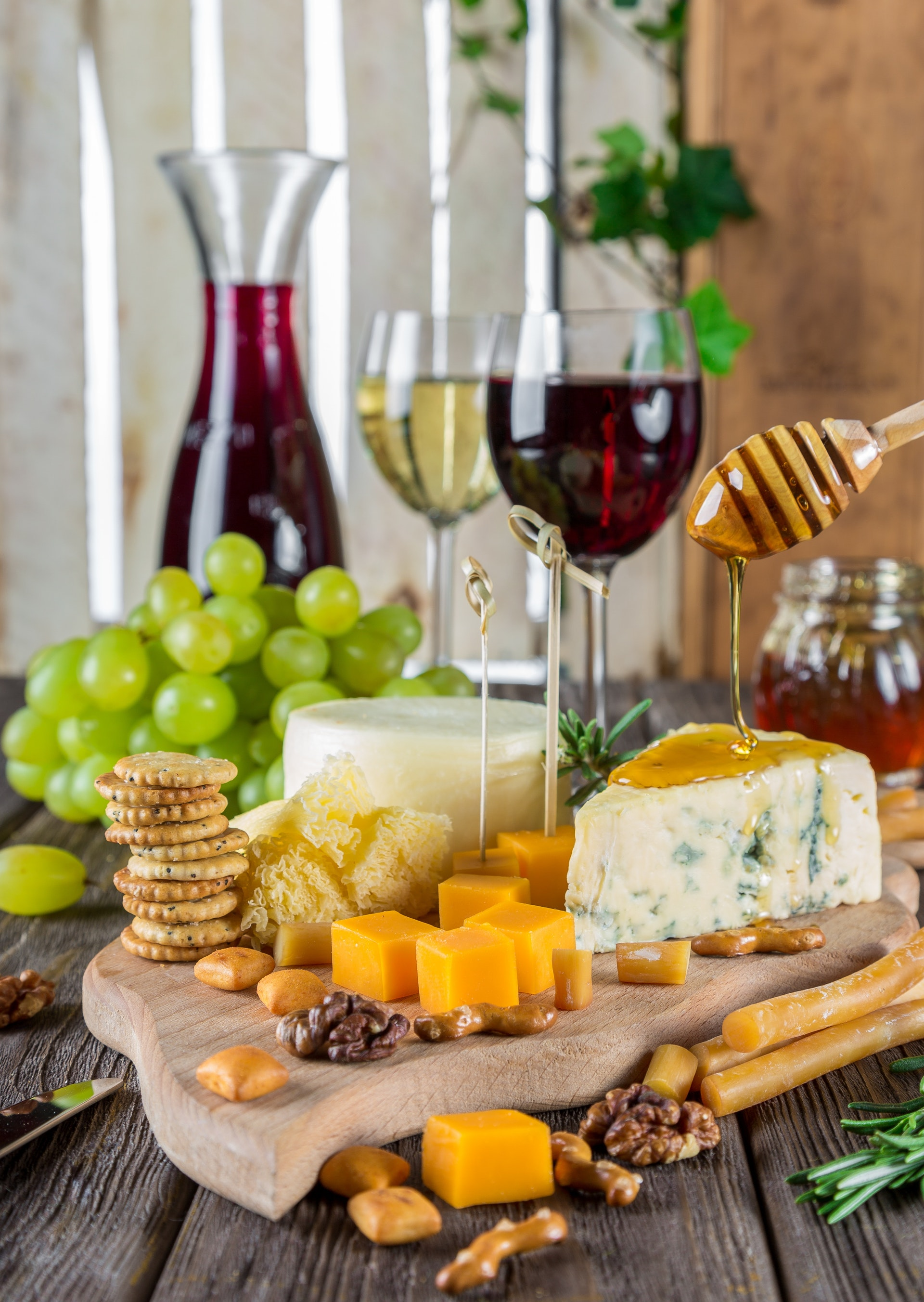 Wine and cheese with honey
