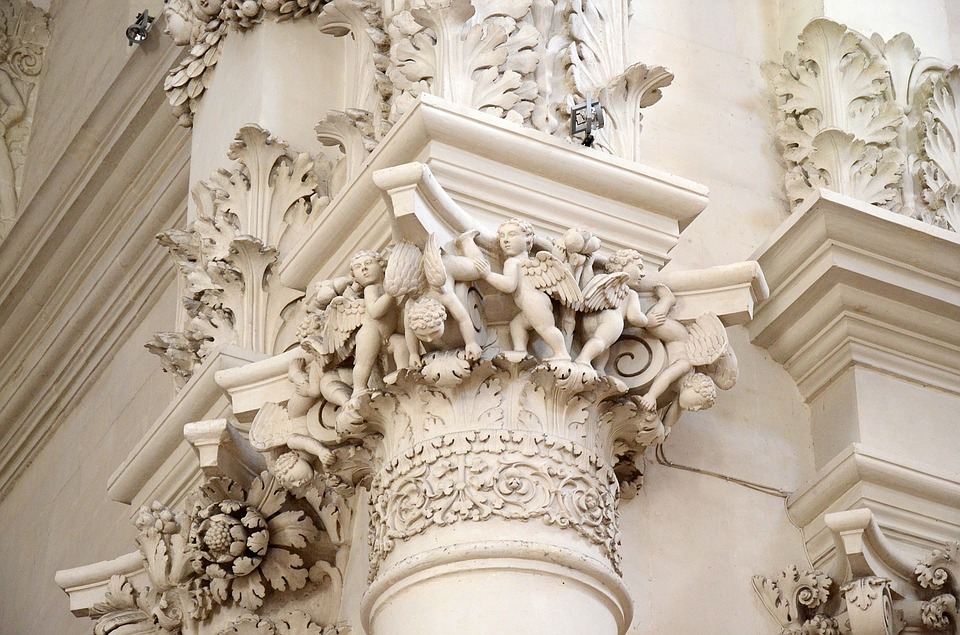 Baroque style on a building in Lecce, Puglia