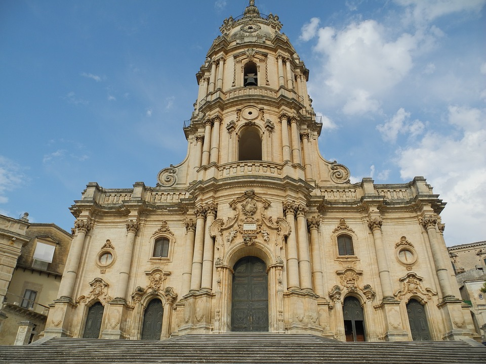 The facade of Chiesa di San Giorgio in Modica