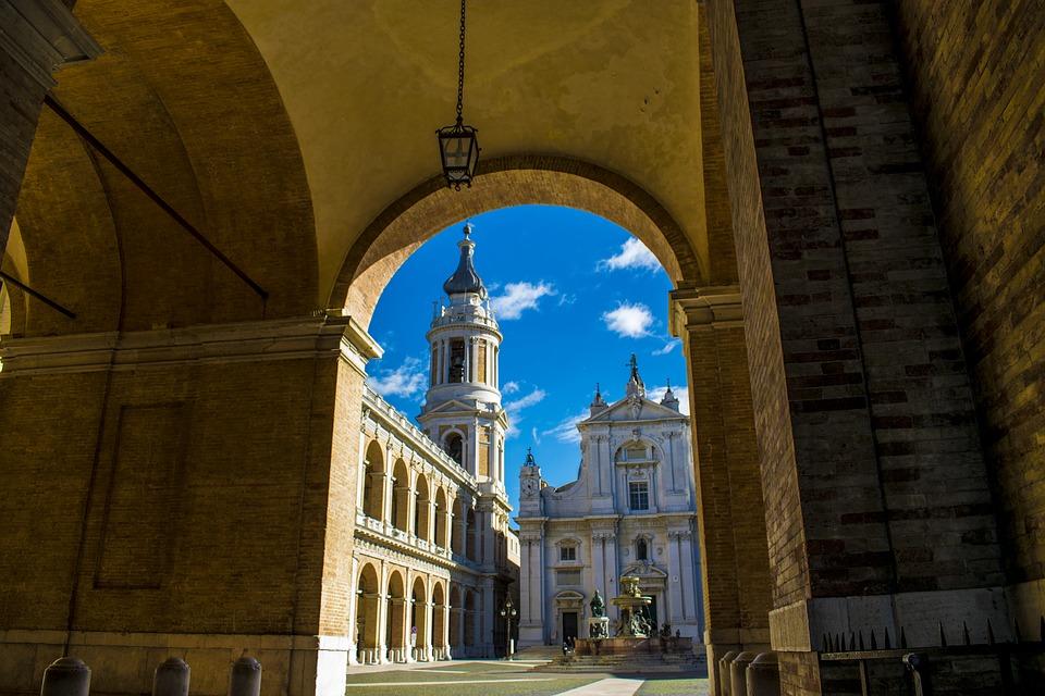 A view through a tunnel of the Basilica della Santa Casa in Italy