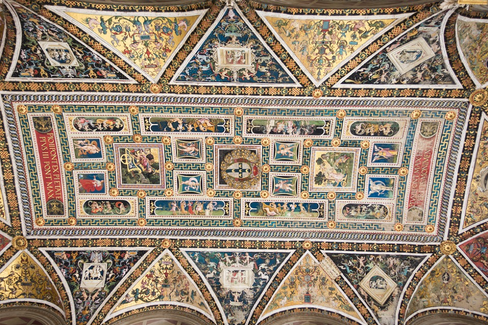 A painting from the Piccolomini Library in Siena, Italy