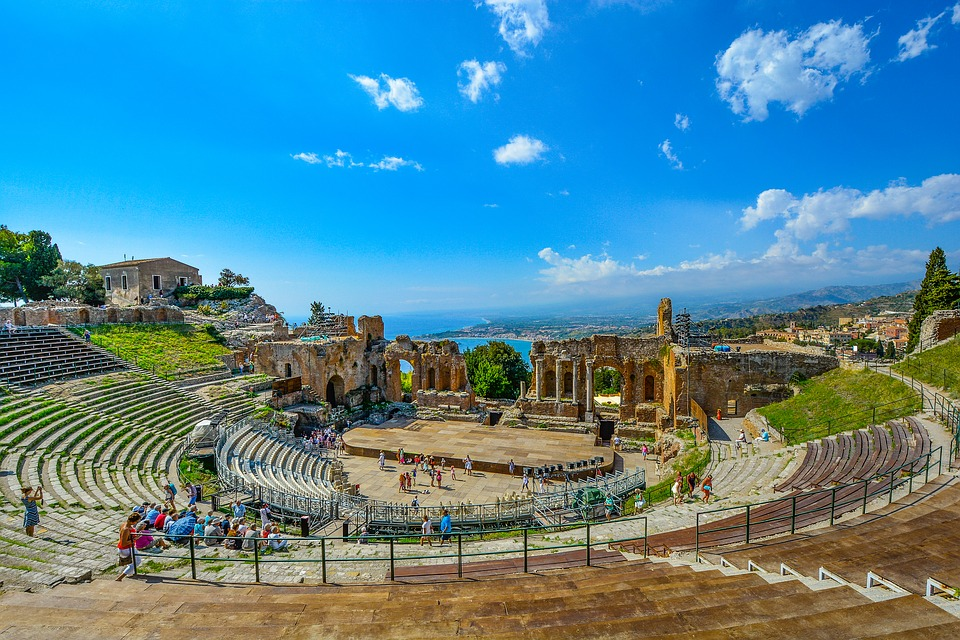 The ancient Greek theatre in Taormina, Sicily