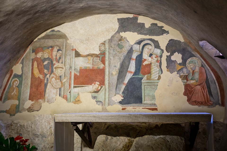 An ancient Italian fresco depicting the nativity scene