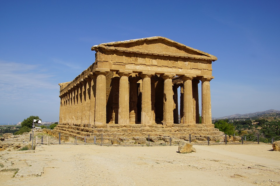 A Greek temple in the town of Agrigento, Italy