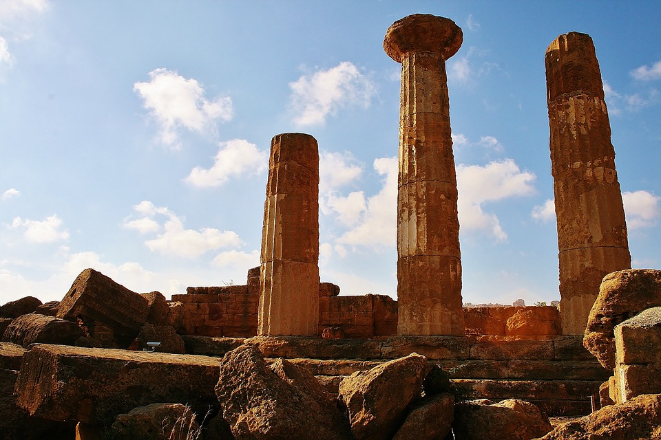 The Temple of Antiquity in Agrigento, Sicily at Sunset