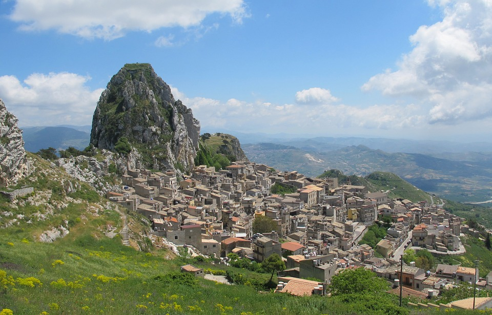The hilltop town of Caltabellotta in Sicily