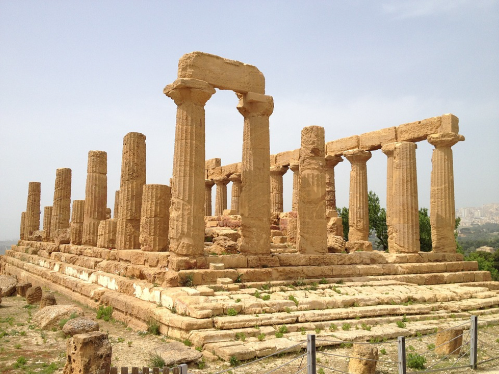 The ruins of an ancient Greek temple in Agrigento, Sicily, Italy
