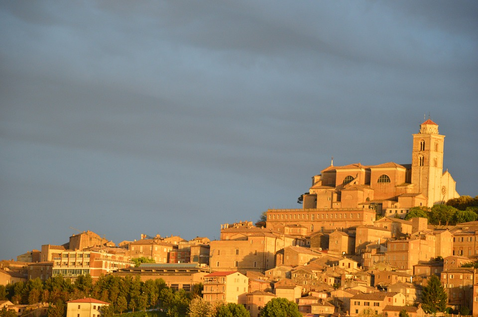Buildings in the town of Fermo, Italy, during sunset