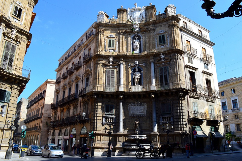 An historic building by a crossroads in Palermo