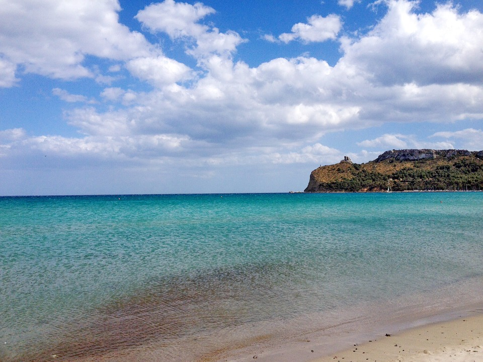 The Mediterranean Sea at Poetto Beach in Cagliari, Sardinia