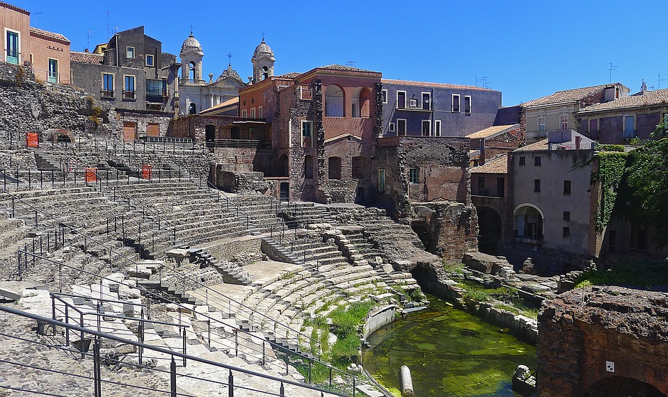 The ancient roman theatre in Catania, Sicily