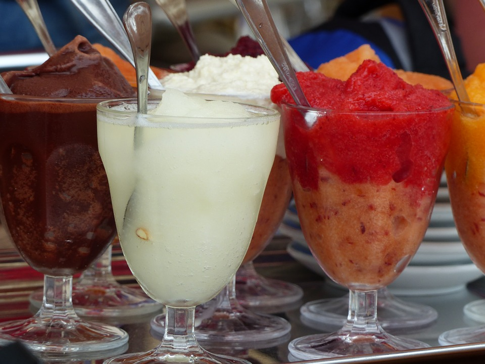 A selection of granita flavours in glasses
