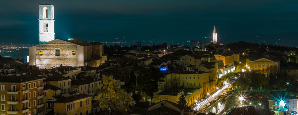 A distant view of Perugia at night