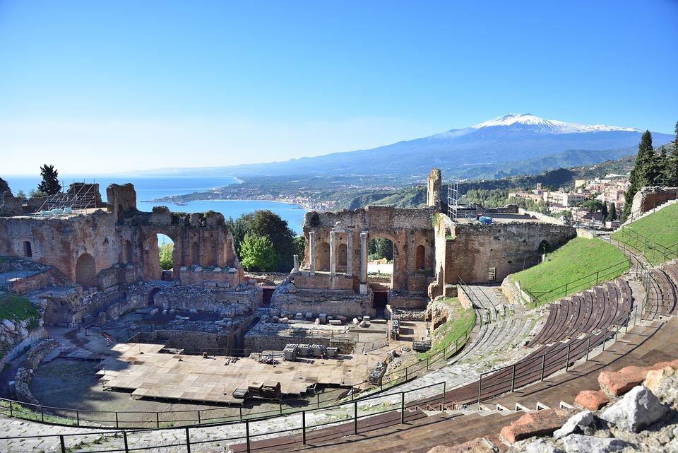 The remains of the Teatro Antico di Taormina in Sicily
