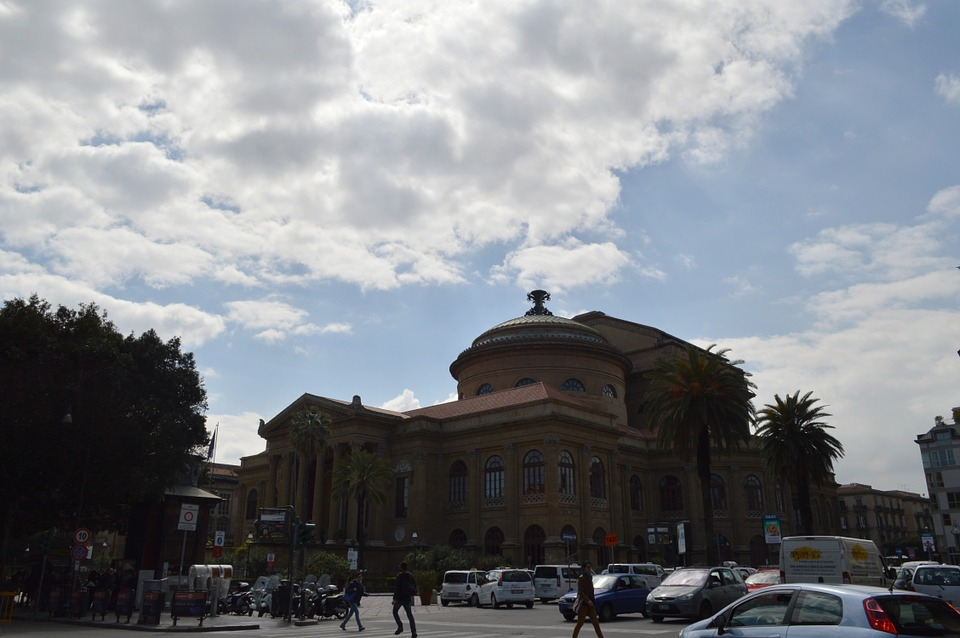 The Teatro Massimo opera house in Palermo on a cloudy day