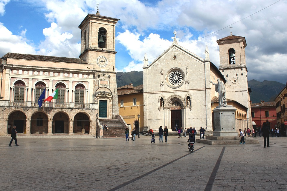 The Piazza in Norcia, Umbria