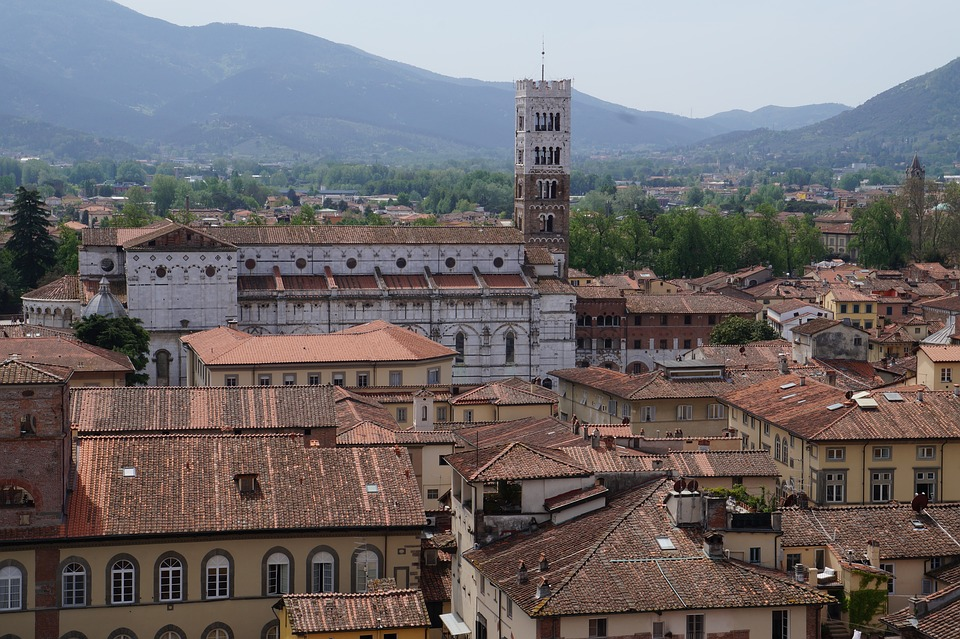 A view of roofs in Lucca in Tuscany