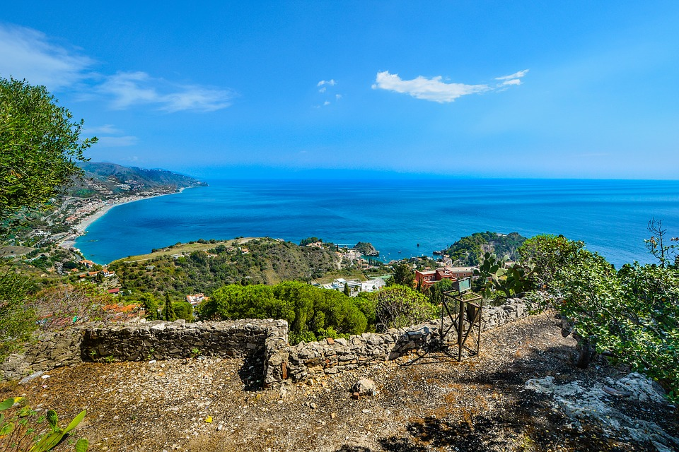 The coast of Taormina during summer