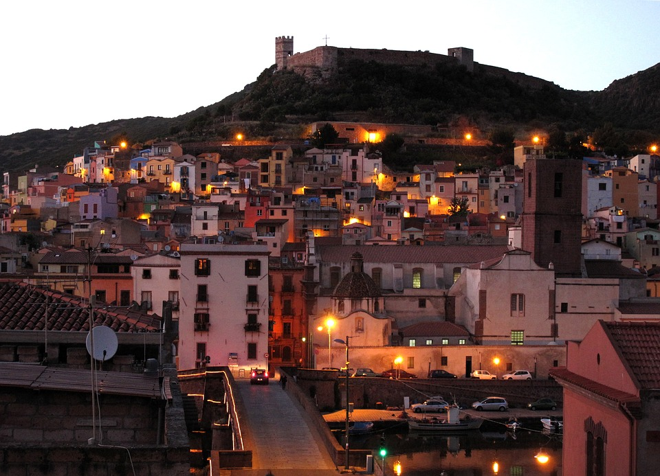Bosa in Sardinia in the evening with streetlights