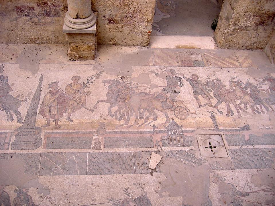 A roman mosaic from Villa Romana del Casale in Sicily