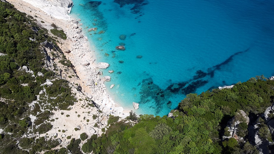 Birds eye view of a beach in Sardinia