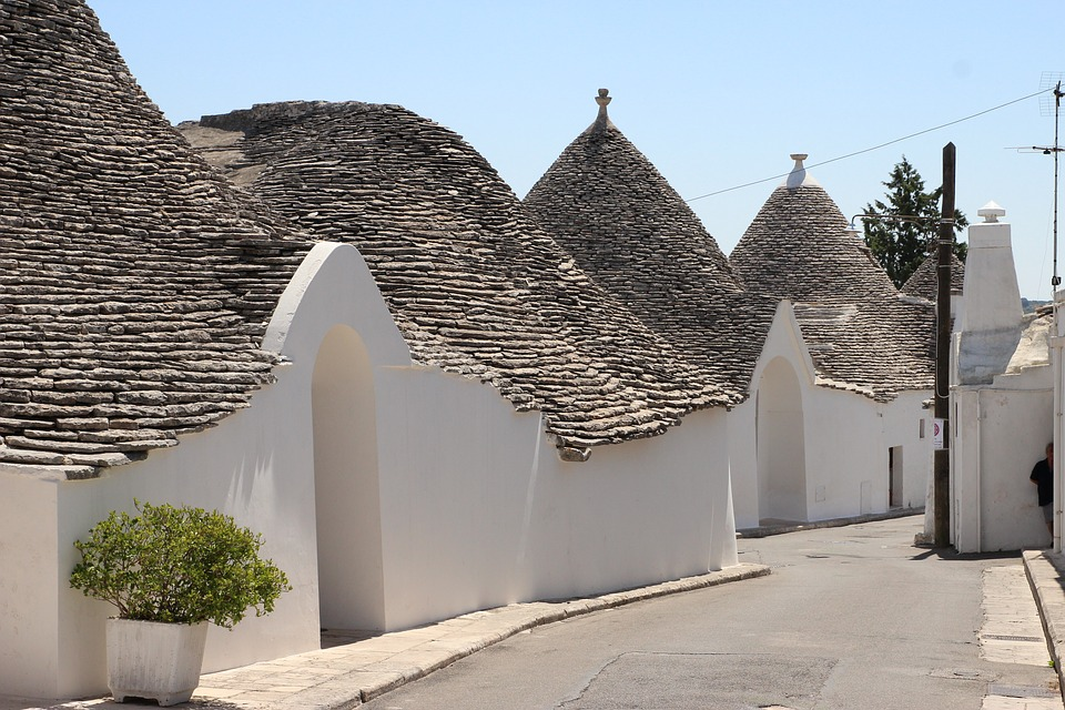 Historic trulli accommodation houses in Puglia, Italy
