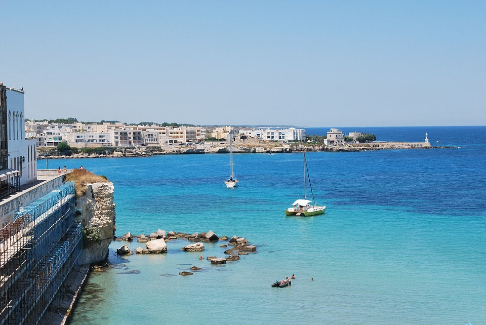 The blue sea of Gallipoli in Puglia