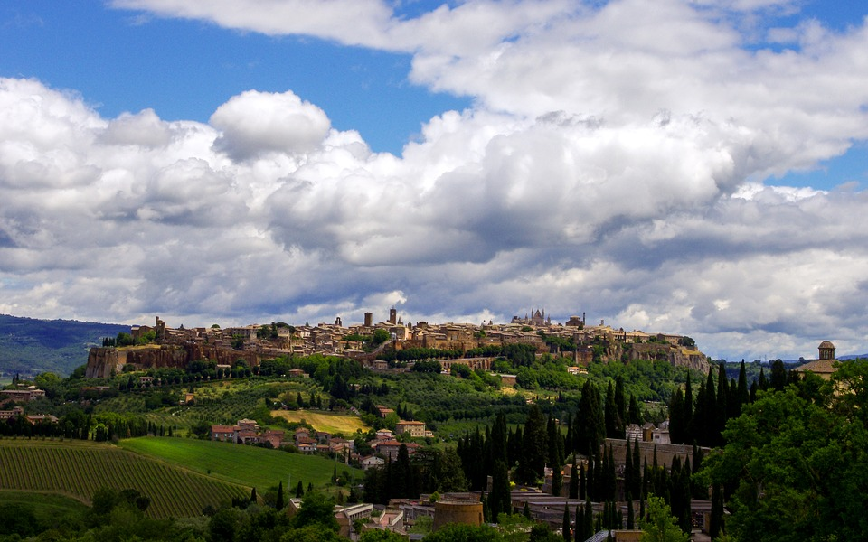 A landscape shot of Orvieto on a hill in Umbria, Italy