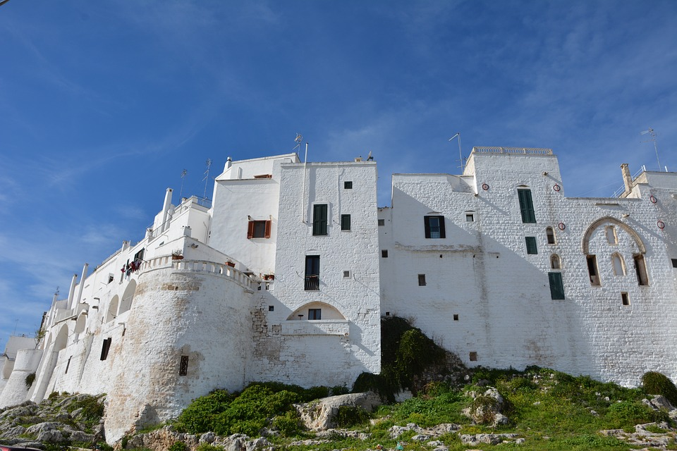White buildings in Otranto, Puglia