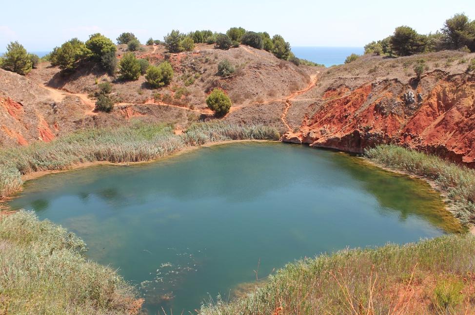 Cava Di Bauxite coloured quarry in Puglia