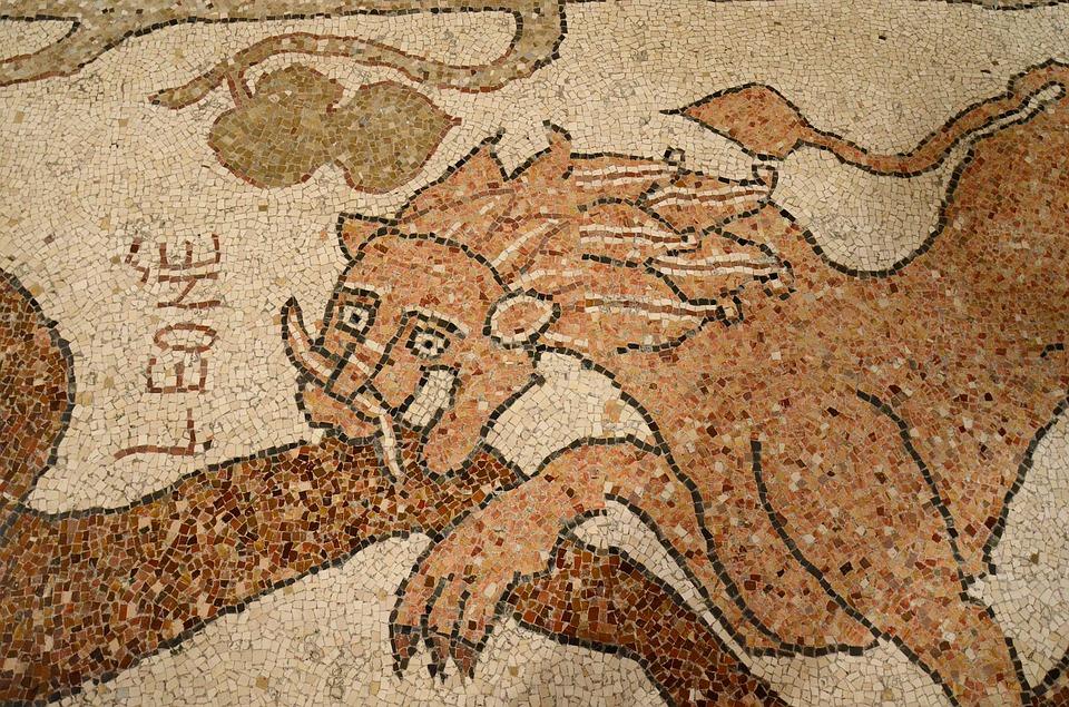 A close up of a dragon mosaic in Otranto, Puglia