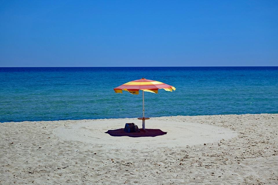Parasol on the beach in Sardinia