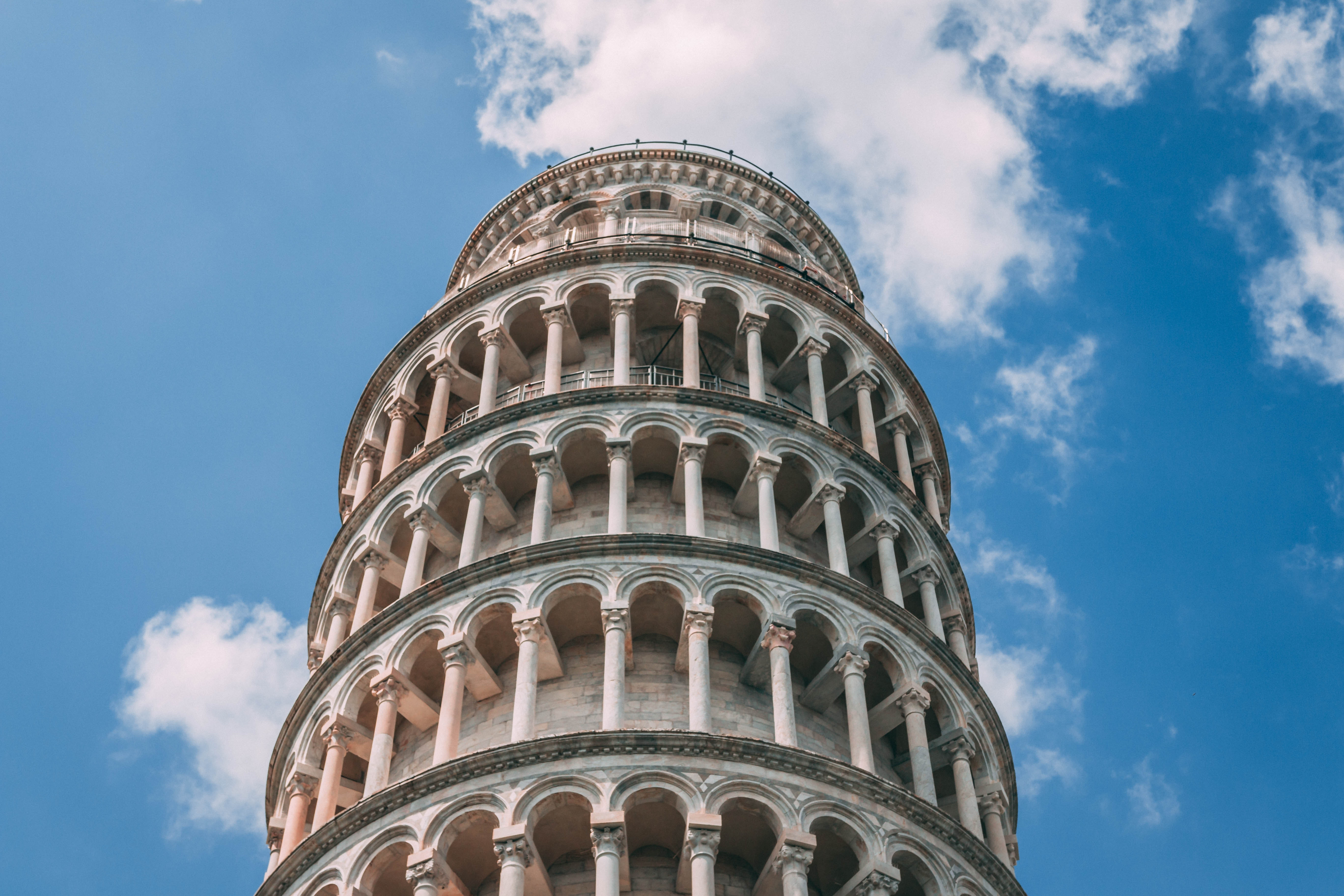 View looking up to the Leaning Tower of Pisa.