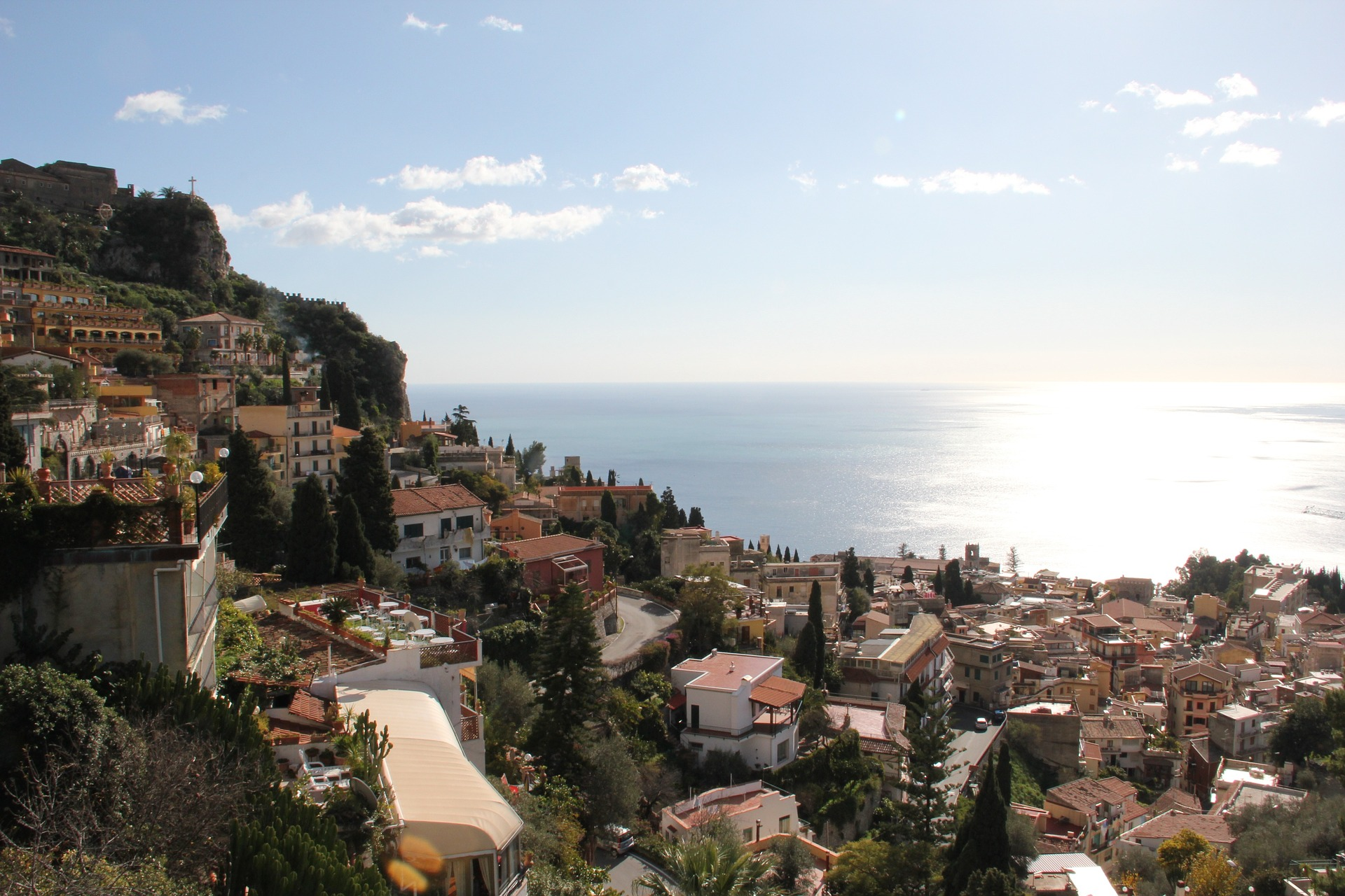 Hillside town of Taormina in Sicily, Italy