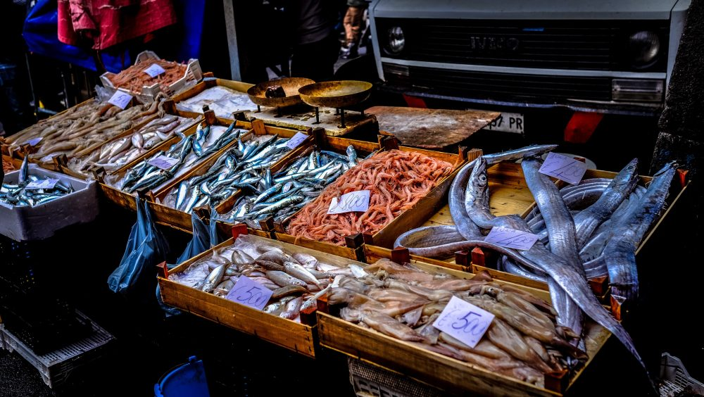 Table at a fish market with a selection of fish.