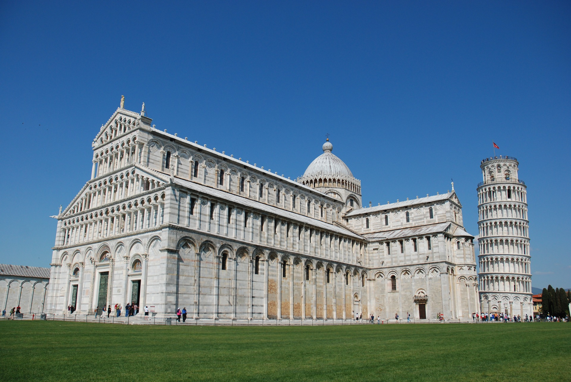 The Leaning Tower of Pisa and the Pisa Cathedral.