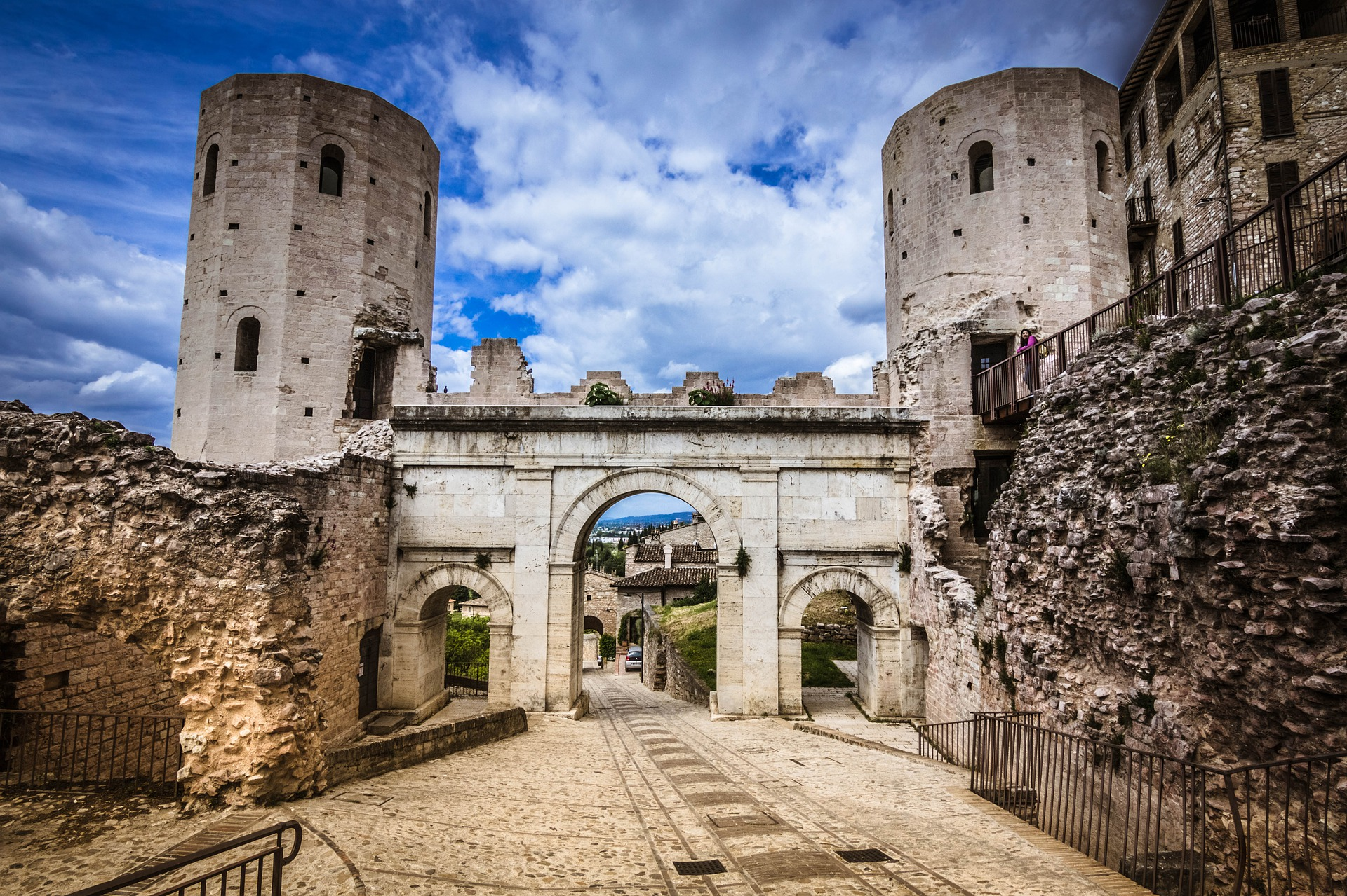 Medieval building with blue skies in Spello, Umbria
