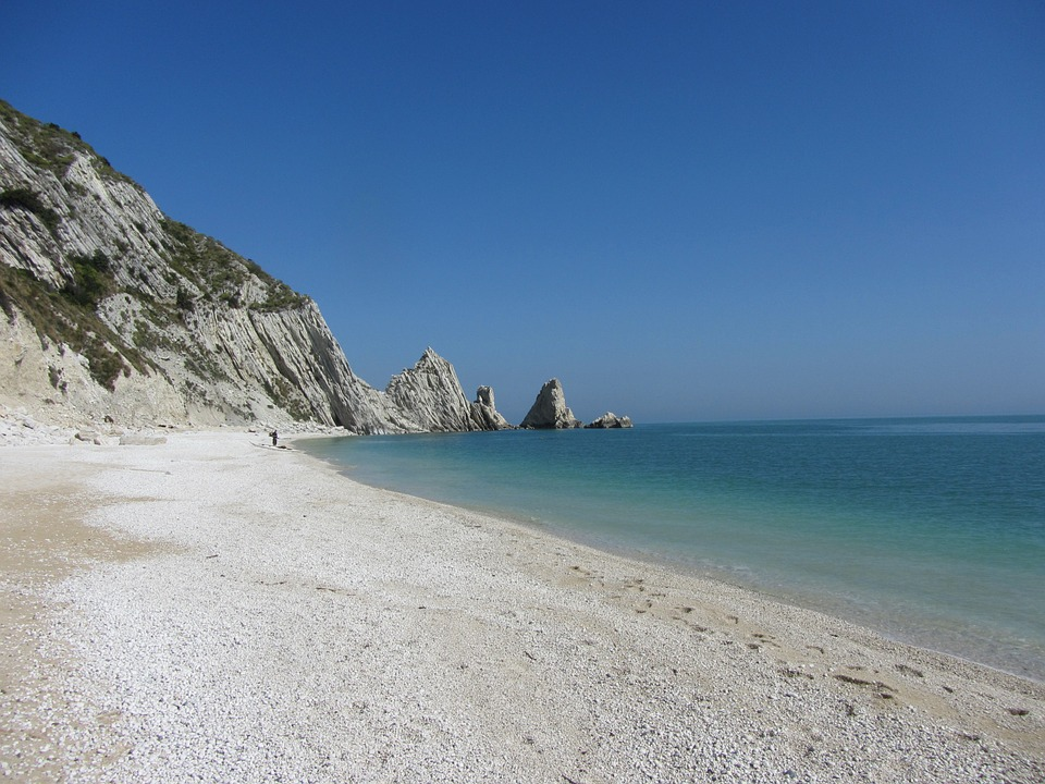 A white beach near Numana in Le Marche