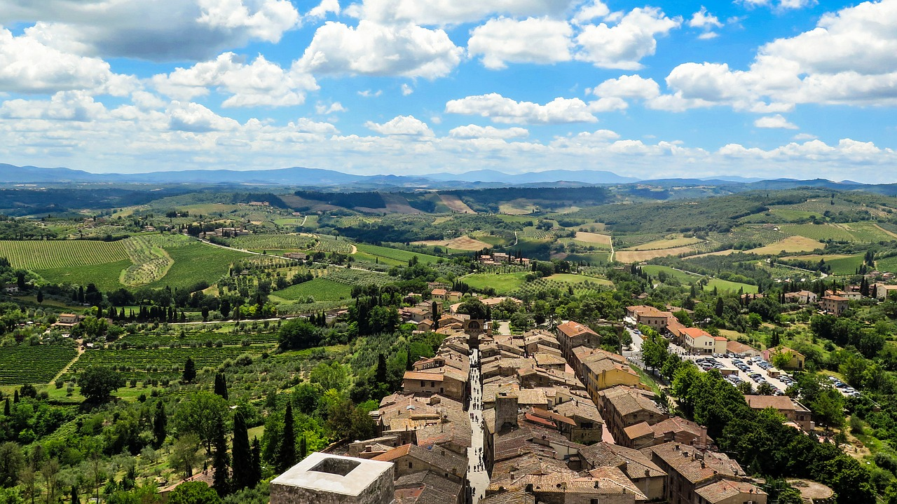 Countryside view of San Gimignano.
