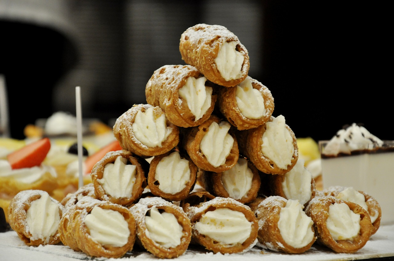 A stack of Sicilian Cannoli.