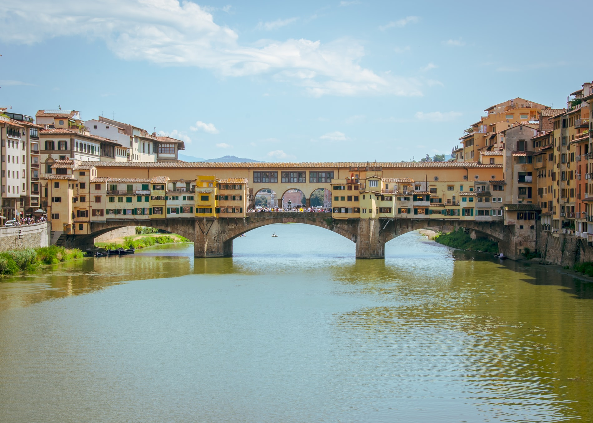 Ponte Vecchio in Florence with blue sky background