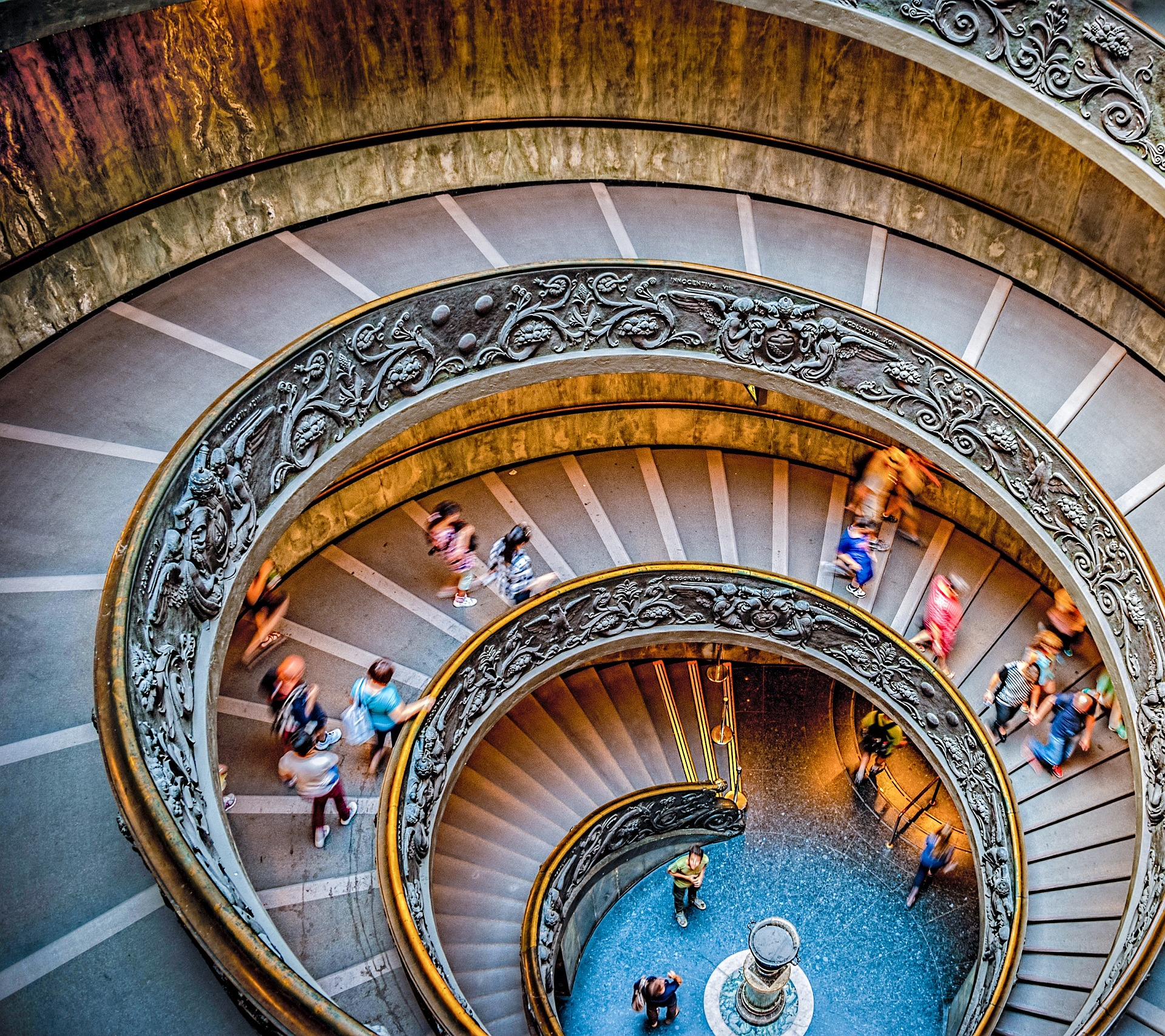 a picture of a downward swirling staircase